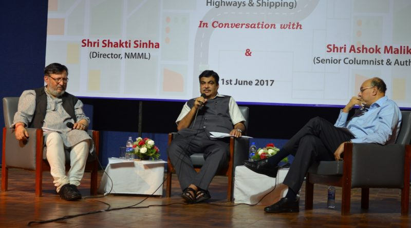 "SPMRF & NMML Organised a Conversation with Shri Nitin Gadkari (Union Minister for Road Transport, Highways & Shipping) on ""Transforming India through Connecting India"" at NMML on 1st June, 2017"