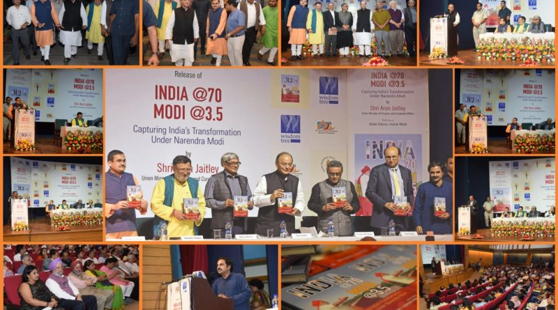 "Shri Arun Jaitley (Union Minister of Finance and Corporate Affairs) release ""India @70 Modi @3.5"" at Nehru Memorial Museum & Library, Teen Murti House, New Delhi on 28th September 2017"